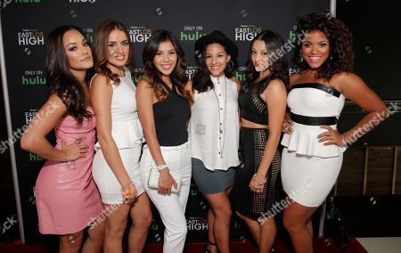 IMAGE DISTRIBUTED FOR HULU - Alexandra Rodriguez, Vannessa Vasquez, Ashley Campuzano, Tracy Perez, Danielle Vega, and Vivian Lamolli (The Bomb Squad) attend Hulu's East Lost High Season 2 Premiere at Landmark Theater, in Los Angeles