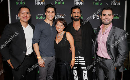 Rick Mancia, Ray Diaz, Co-Creator Kathleen Bedoya, Robert Paul Taylor and Rene Alvarado attend Hulu's East Lost High Season 2 Premiere at Landmark Theater on Wednesday July, 9 2014, in Los Angeles