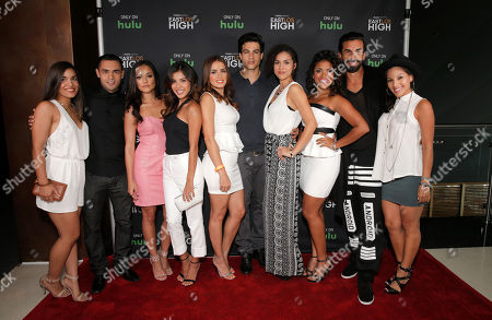 Alicia Sixtos, Gabe Chavarria, Alexandra Rodriguez, Ashley Campuzano, Vannessa Vasquez, Ray Diaz, Andrea Sixtos, Vivian Lamolli, Robert Paul Taylor and Tracy Perez attend Hulu's East Lost High Season 2 Premiere at Landmark Theater on Wednesday July, 9 2014, in Los Angeles
