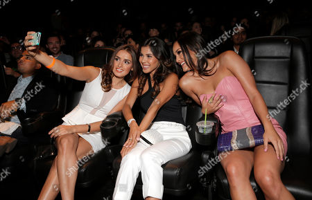 Vannessa Vasquez, Ashley Campuzano and Alexandra Rodriguez take a selfie at Hulu's East Lost High Season 2 Premiere at Landmark Theater on Wednesday July, 9 2014, in Los Angeles