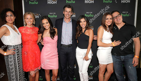 Andrea Sixtos, Executive Producer Katie Elmore Mota, Alexandra Rodriguez, Hulu CEO Mike Hopkins, Ashley Campuzano, Vannessa Vasquez and Co-Creator/Director Carlos Portugal attend Hulu's East Lost High Season 2 Premiere at Landmark Theater on Wednesday July, 9 2014, in Los Angeles
