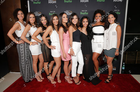 Andrea Sixtos, Vannessa Vasquez, Danielle Vega, Alicia Sixtos, Alexandra Rodriguez, Ashley Campuzano, Cassandra Ventura, Vivian Lamolli and Tracy Perez attend Hulu's East Lost High Season 2 Premiere at Landmark Theater on Wednesday July, 9 2014, in Los Angeles
