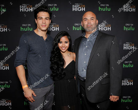 Ray Diaz, Cassandra Ventura and Producer Carlos Reza attend Hulu's East Lost High Season 2 Premiere at Landmark Theater on Wednesday July, 9 2014, in Los Angeles