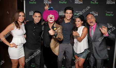 Vannessa Vasquez, Gabe Chavarria, Platanito, Ray Diaz, Tracy Perez and Villalpando attend Hulu's East Lost High Season 2 Premiere at Landmark Theater on Wednesday July, 9 2014, in Los Angeles