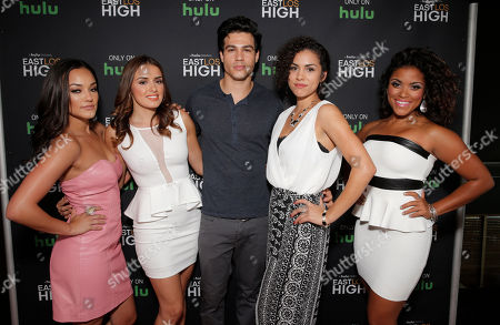IMAGE DISTRIBUTED FOR HULU - From left, Alexandra Rodriguez, Vannessa Vasquez, Ray Diaz, Andrea Sixtos and Vivian Lamolli attend Hulu's East Lost High Season 2 Premiere at Landmark Theater, in Los Angeles