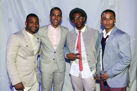 Stock Picture of J.B. Gill, Marvin Humes, Ortise Williams and Aston Merrygold of JLS at JLS Foundation OJAM in aid of Cancer Research UK at Battersea Evolution in London on June 6th, 2013