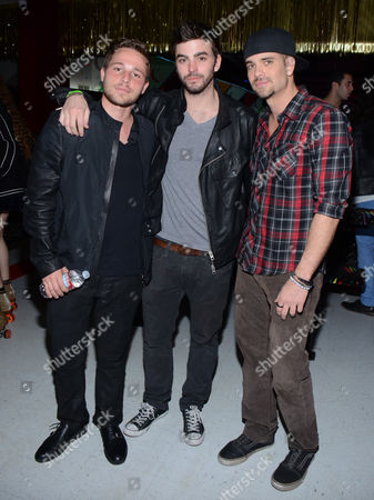 Shawn Pyfrom, and from left, Crawford Wilson, and Mark Salling attend Just Jared's Throwback Thursday Party Presented by Monster High at Moonlight Rollerway, in Glendale, Calif