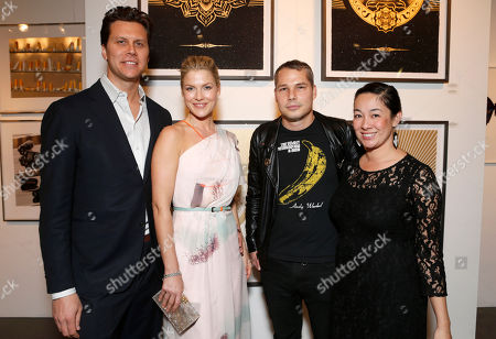 Hayes MacArthur, Ali Larter, Shepard Fairey and Amanda Fairey attend the LA Art Show hosted by Ali Larter and Hayes MacArthur Benefiting the Art of Elysium at the LA Convention Center, in Los Angeles