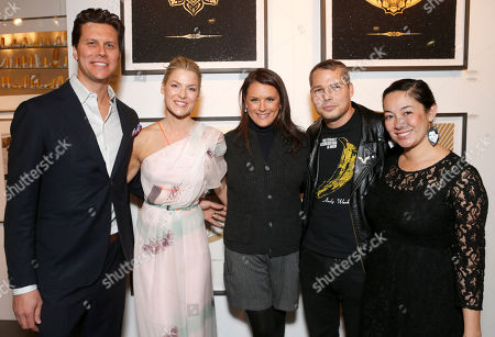 Hayes MacArthur, Ali Larter, The Art of Elysium Founder Jennifer Howell, Shepard Fairey and Amanda Fairey attend the LA Art Show hosted by Ali Larter and Hayes MacArthur Benefiting the Art of Elysium at the LA Convention Center, in Los Angeles