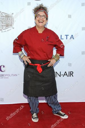 Chef Susan Feniger arrives at the LA Food and Wine Festival's Lexus Live on Grand Hosted by Curtis Stone on in Los Angeles