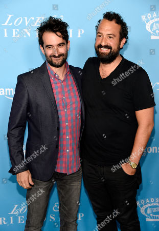 """Jay Duplass, left, and Steve Zissis pose together at the premiere of the film """"Love & Friendship"""" at the Directors Guild of America, in Los Angeles"""