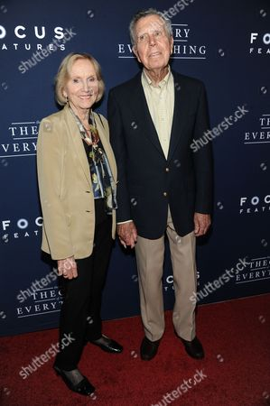 "Eva Marie Saint, left, and Jeffrey Hayden arrives at the LA Premiere Of ""The Theory Of Everything"", in Beverly Hills, Calif"