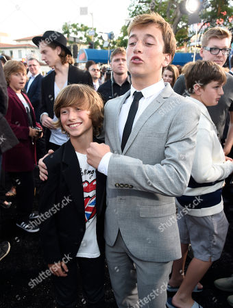 """Steele Stebbins, left, and Skyler Gisondo arrive at the Los Angeles premiere of """"Vacation"""" at the Regency Village Theatre on"""