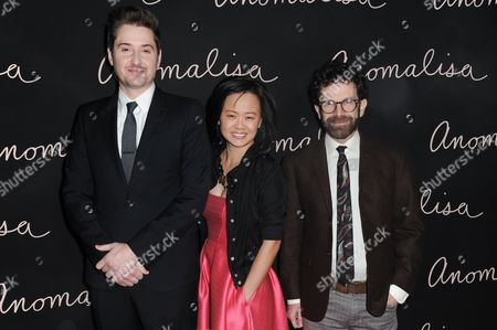 "Director Duke Johnson, producer Rosa Tran and writer-director-producer Charlie Kaufman attend a special screening of ""Anomalisa"" held at Grauman's Egyptian Theatre on Monday, Dec.14, 2015, in Los Angeles"