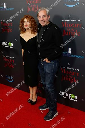 """Bernadette Peters, left, and Paul Weitz arrive at the LA Special Screening of """"Mozart in the Jungle"""" at The Grove, in Los Angeles"""