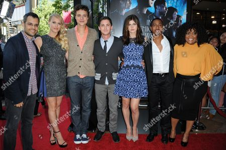 "From left, Thor Freudenthal, Leven Rambin, Douglas Smith, Logan Lerman, Alexandra Daddario, Brandon T. Jackson and Yvette Nicole Brown arrive at a special screening of ""Percy Jackson: Sea of Monsters"" at The Americana at Brand Pacific Theaters on in Glendale, Calif"