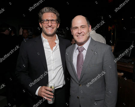 Stock Photo of Producer Gary Gilbert and Director Matt Weiner attend the after party for the premiere of 'Are You Here' Presented by Purity Vodka on in Hollywood, California