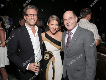 Stock Image of Producer Gary Gilbert, Laura Ramsey and Director Matt Weiner attend the after party for the premiere of 'Are You Here' Presented by Purity Vodka on in Hollywood, California