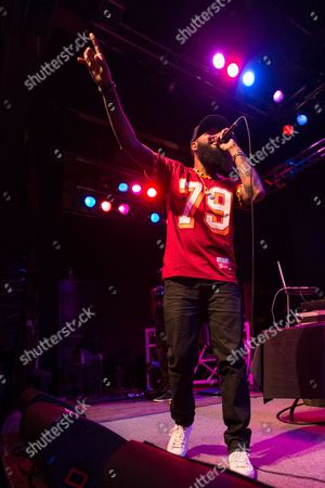 Stock Image of Stalley performs on stage at the House of Blues on in Los Angeles, Calif