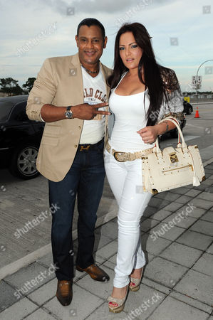 Sammy Sosa is sighted on opening night of the Vivir Mi Vida world tour at the American Airlines Arena on in Miami,Florida
