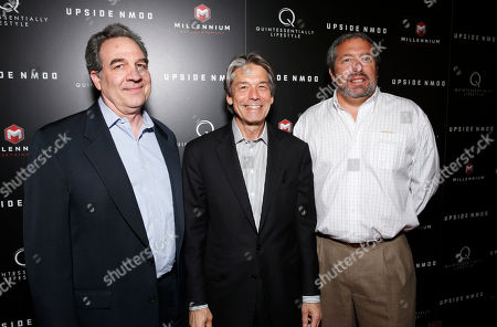 Millennium Entertainment's EVP of Operations Tony Korkunis, Millennium Entertainment CEO Bill Lee and Millennium Entertainment President Steve Nickerson attend Millennium Entertainment's Upside Down Los Angeles Premiere hosted by Quintessentially at Arclight Hollywood on in Los Angeles