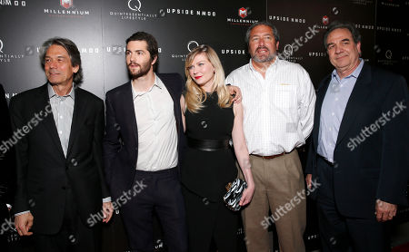 Millennium Entertainment CEO Bill Lee, Jim Sturgess, Kirsten Dunst, Millennium Entertainment President Steve Nickerson and Millennium Entertainment's EVP of Operations Tony Korkunis attend Millennium Entertainment's Upside Down Los Angeles Premiere hosted by Quintessentially at Arclight Hollywood on in Los Angeles