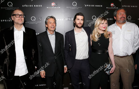 Director Juan Solanas, Millennium Entertainment CEO Bill Lee, Jim Sturgess, Kirsten Dunst, Millennium Entertainment President Steve Nickerson attend Millennium Entertainment's Upside Down Los Angeles Premiere hosted by Quintessentially at Arclight Hollywood on in Los Angeles