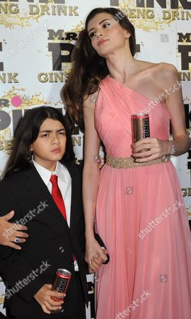 Blanket Jackson, left, and Monica Gabor attend the Mr. Pink Ginseng launch party at the Beverly Wilshire hotel, in Beverly Hills, Calif