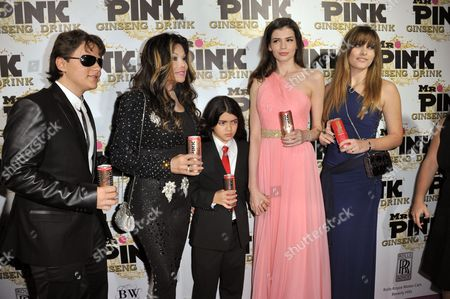 From left, Prince Michael Jackson, LaToya Jackson, Blanket Jackson, Monica Gabor and Paris Jackson attend the Mr. Pink Ginseng launch party at the Beverly Wilshire hotel, in Beverly Hills, Calif