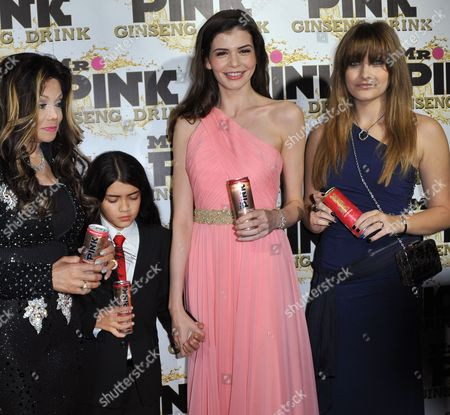 Latoya Jackson, left, Blanket Jackson, Monica Gabor and Paris Jackson attends the Mr. Pink Ginseng launch party at the Beverly Wilshire hotel, in Beverly Hills, Calif