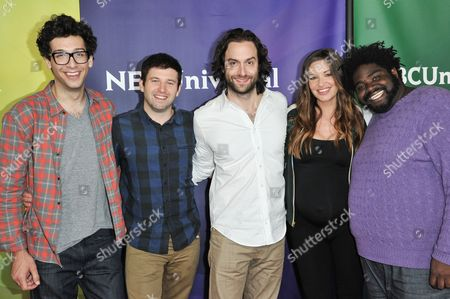 From left, Rick Glassman, Brent Morin, Chris D'Elia, Bianca Kajlich, and Ron Funches arrive at the NBC Universal Summer Press Day, in Pasadena, Calif