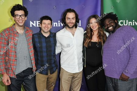 """From left, Rick Glassman, Brent Morin, Chris D'Elia, Bianca Kajlich, and Ron Funches of """"Undateable"""" arrive at the NBC Universal Summer Press Day, in Pasadena, Calif"""