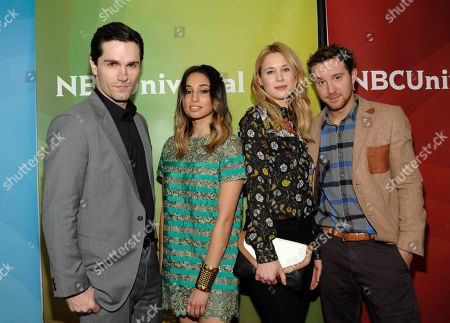 From left to right, actor Sam Witwer, actress Meaghan Rath, actress Kristen Hager, and actor Sam Huntington attend the NBC Universal Winter TCA Tour at the Langham Huntington Hotel, in Pasadena, Calif