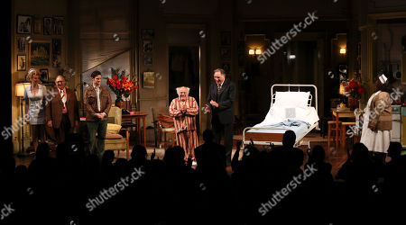 """From left, cast members Annie Abrams, Gibby Brand, Justin Bartha, Danny DeVito, Judd Hirsch and Johnnie Fiori take their bows at the curtain call for the opening night performance of Neil Simon's """"The Sunshine Boys"""" at Center Theatre Group/Ahmanson Theatre, in Los Angeles, Calif"""