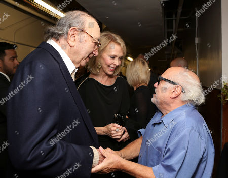 "From left, Playwright Neil Simon, Elaine Joyce and cast member Danny DeVito talk backstage after the opening night performance of Neil Simon's ""The Sunshine Boys"" at Center Theatre Group/Ahmanson Theatre, in Los Angeles, Calif"