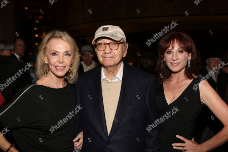 "From left, Elaine Joyce, Playwright Neil Simon and actress Marilu Henner pose during the arrivals for the opening night performance of Neil Simon's ""The Sunshine Boys"" at Center Theatre Group/Ahmanson Theatre, in Los Angeles, Calif"