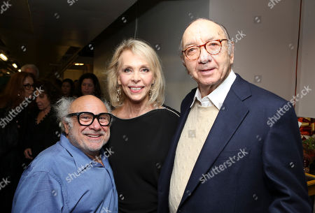 "From left, cast member Danny DeVito, Elaine Joyce and Playwright Neil Simon pose backstage after the opening night performance of Neil Simon's ""The Sunshine Boys"" at Center Theatre Group/Ahmanson Theatre, in Los Angeles, Calif"