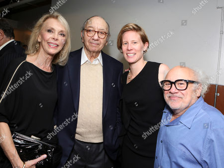 "From left, Elaine Joyce, Playwright Neil Simon, Director Thea Sharrock and cast member Danny DeVito pose backstage after the opening night performance of Neil Simon's ""The Sunshine Boys"" at Center Theatre Group/Ahmanson Theatre, in Los Angeles, Calif"