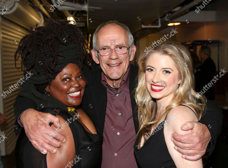 """From left, cast member Johnnie Fiori, actor Christopher Lloyd and cast member Annie Abrams pose backstage after the opening night performance of Neil Simon's """"The Sunshine Boys"""" at Center Theatre Group/Ahmanson Theatre, in Los Angeles, Calif"""