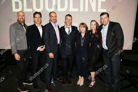 """Creator/Writer/Exec. Producer Todd A. Kessler, Creator/Writer/Exec. Producer Daniel Zelman, Creator/Writer/Exec. Producer Glenn Kessler, Ben Mendelsohn, Sissy Spacek, Linda Cardellini and Kyle Chandler seen at Netflix """"Bloodline"""" Television Academy Screening at the Pacific Design Center, in Los Angeles, CA"""