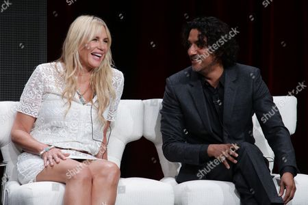 Daryl Hannah and Naveen Andrews seen at Netflix 2015 Summer TCA at the Beverly Hilton Hotel, in Beverly Hills, CA