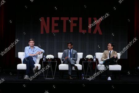Exec. Producer Mike Schur, Exec. Producer/Actor Aziz Ansari and Exec. Producer Alan Yang seen at Netflix 2015 Summer TCA at the Beverly Hilton Hotel, in Beverly Hills, CA