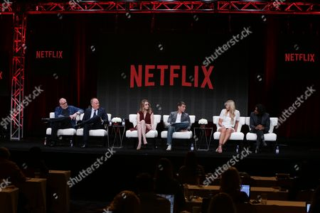 J. Michael Straczynski, Grant Hill, Jamie Clayton, Brian J. Smith, Daryl Hannah and Naveen Andrews seen at Netflix 2015 Summer TCA at the Beverly Hilton Hotel, in Beverly Hills, CA