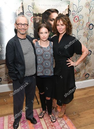 "Actor Joel Grey with granddaughter Stella Gregg and daughter Jennifer Grey, right, attend the premiere of ""A Tale of Love & Darkness"", at The Crosby Street Hotel, in New York"