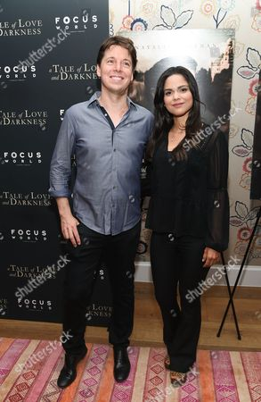 "Joshua Bell and girlfriend Marissa Martinez attend the premiere of ""A Tale of Love & Darkness"", at The Crosby Street Hotel, in New York"