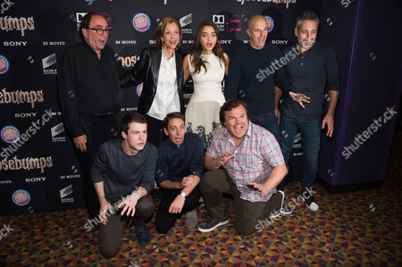 "Stock Image of Clockwise from top left, R. L. Stine, Deborah Forte, Odeya Rush, Neal H. Moritz, Rob Letterman, Jack Black, Ryan Lee and Dylan Minnette attend a special screening of ""Goosebumps"" at the AMC Empire 25, in New York"