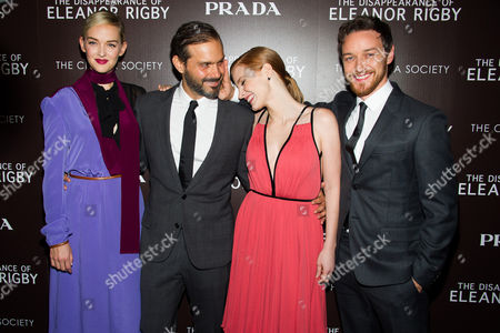 """Jess Weixler, from left, Ned Benson, James McAvoy and Jessica Chastain attend a screening of The Weinstein Company's """"The Disappearance Of Eleanor Rigby"""" hosted by Prada and The Cinema Society on in New York"""