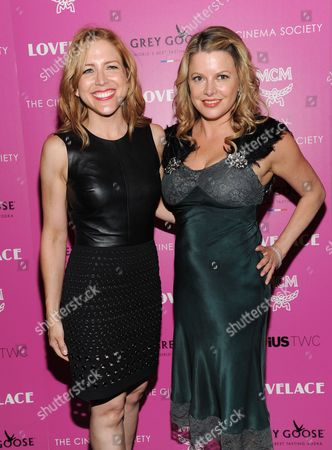 """Stock Image of Producers Laura Rister, left, and Heidi Jo Markel attend a special screening of Radius TWC's """"Lovelace"""" hosted by The Cinema Society and MCM on in New York"""