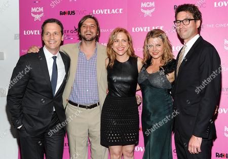 """Radius co-presidents Tom Quinn, left, and Jason Janego, far right, pose with producers, Jim Young, Laura Rister and Heidi Jo Markel at a special screening of Radius TWC's """"Lovelace"""" hosted by The Cinema Society and MCM on in New York"""