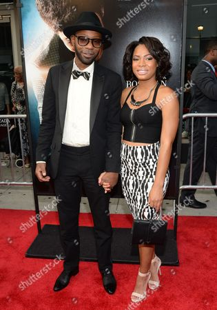 """Actor Nelsan Ellis and Alex Hyde attend the world premiere of """"Get On Up"""" at the Apollo Theater, in New York"""